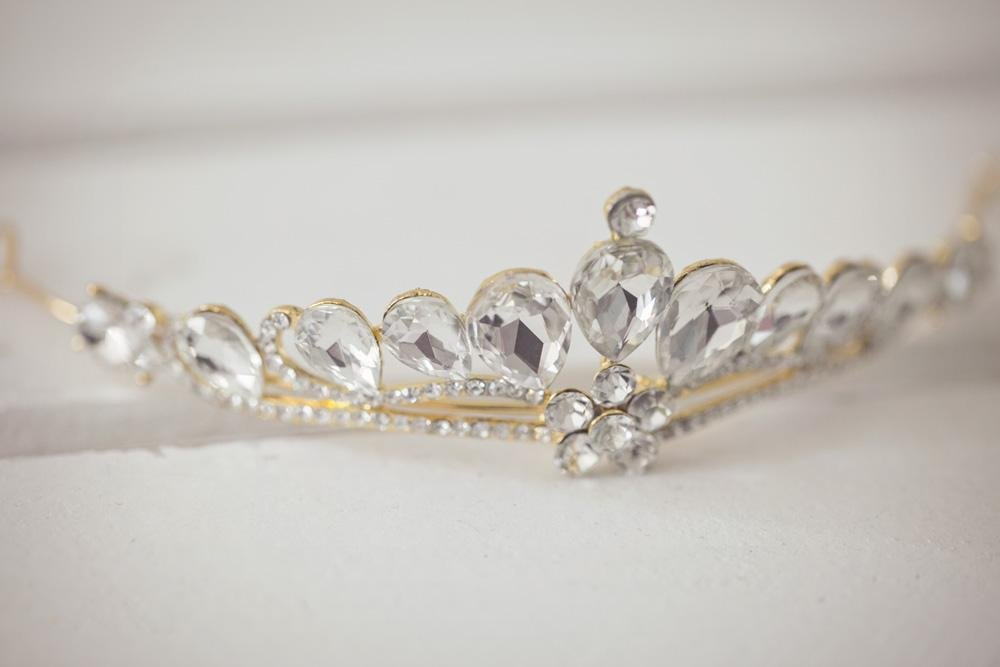 Gold Rhinestone Tiara - Violet and Eve