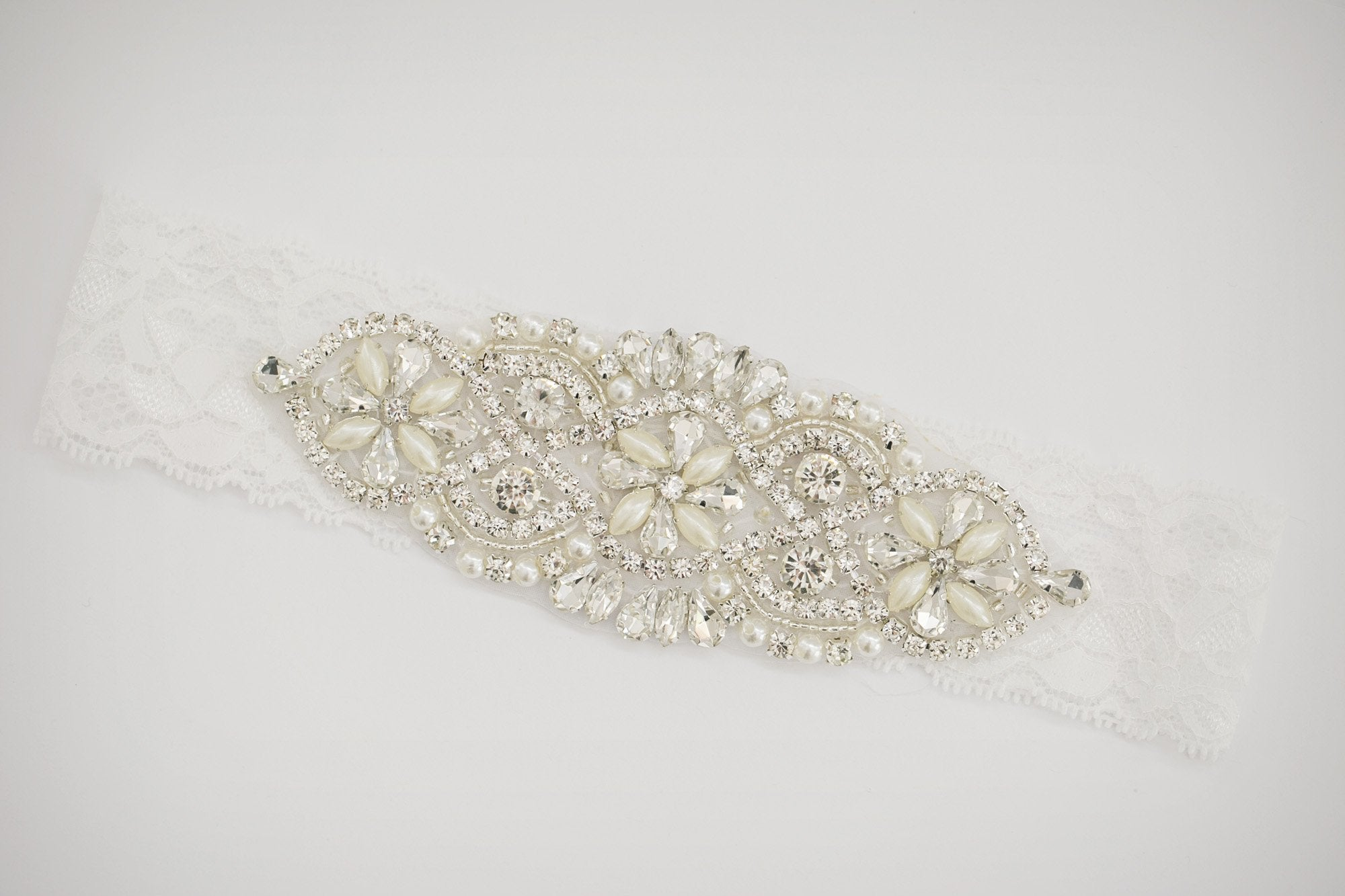 Lace Rhinestone Bridal Garter - Violet and Eve