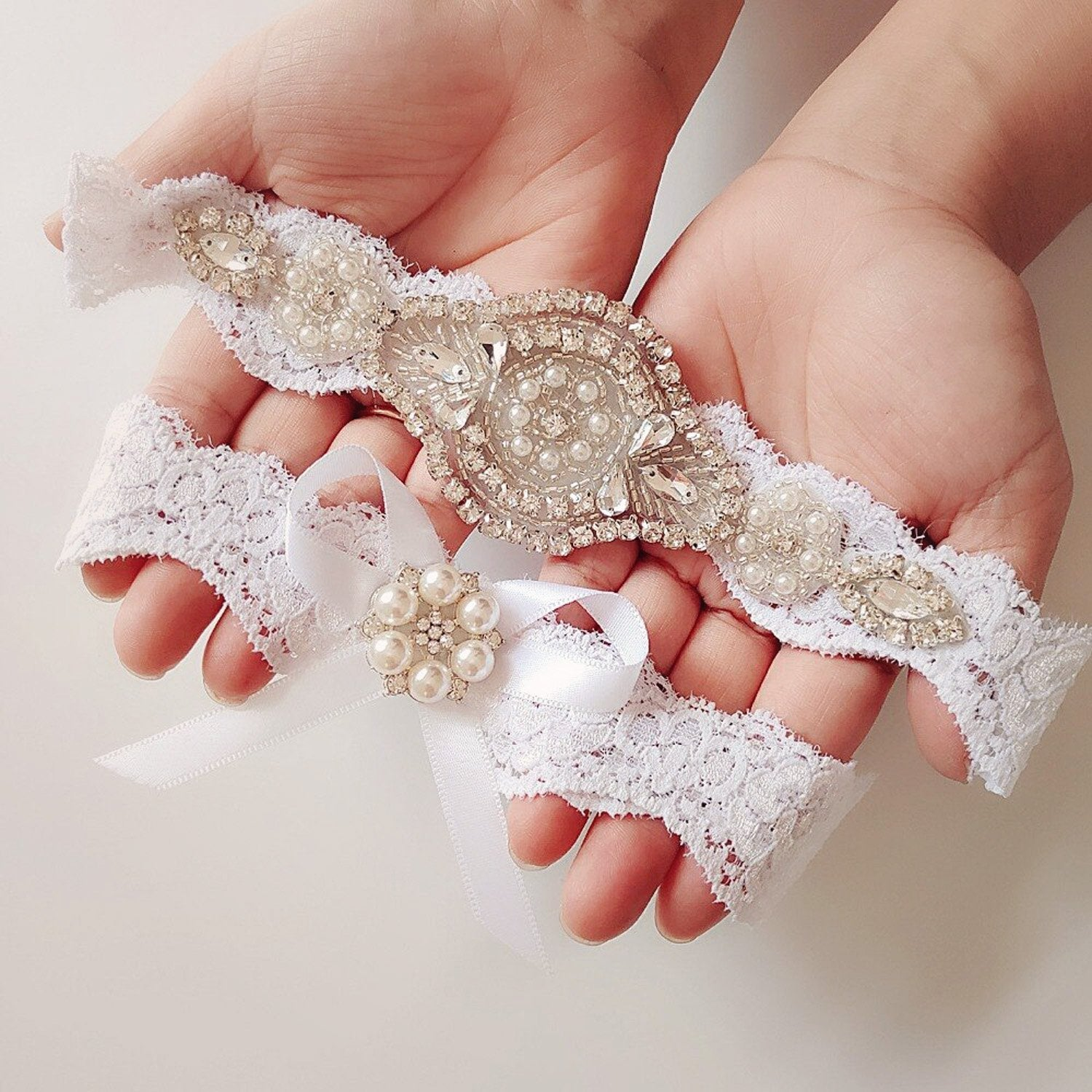 Lace Rhinestone Bridal Garter Set - Violet and Eve