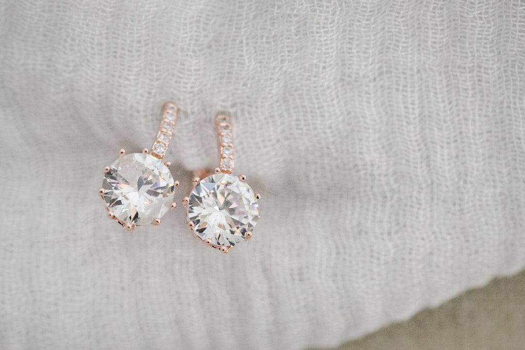 Rose Gold Crystal Earrings - Violet and Eve