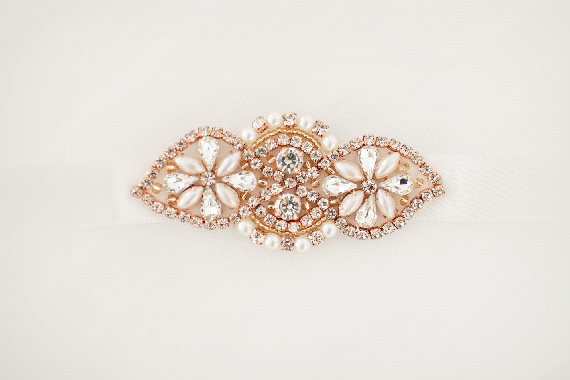 Rose Gold Diamante Bridal Sash - Violet and Eve
