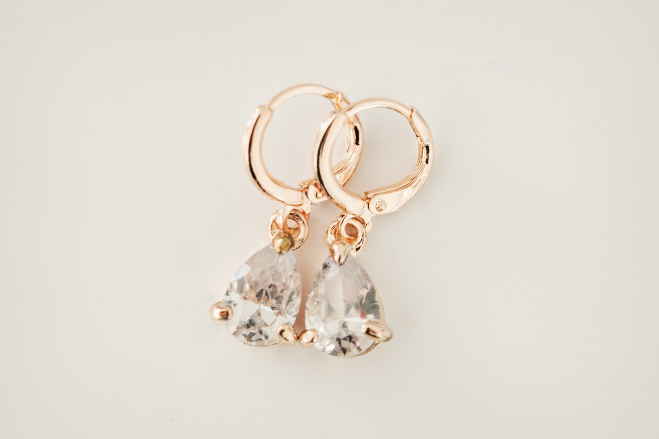 Rose Gold Teardrop Earrings - Violet and Eve