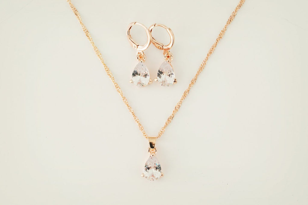 Rose Gold Teardrop Jewellery Set - Violet and Eve