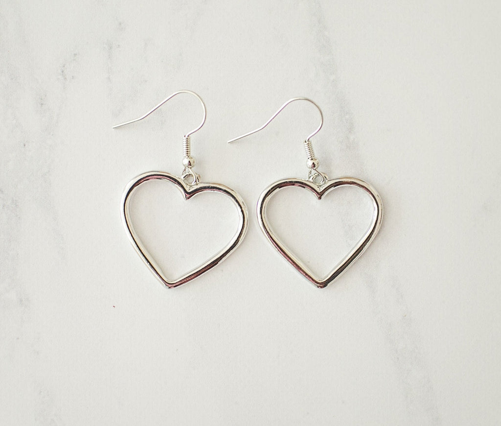 Silver Heart Earrings - Violet and Eve