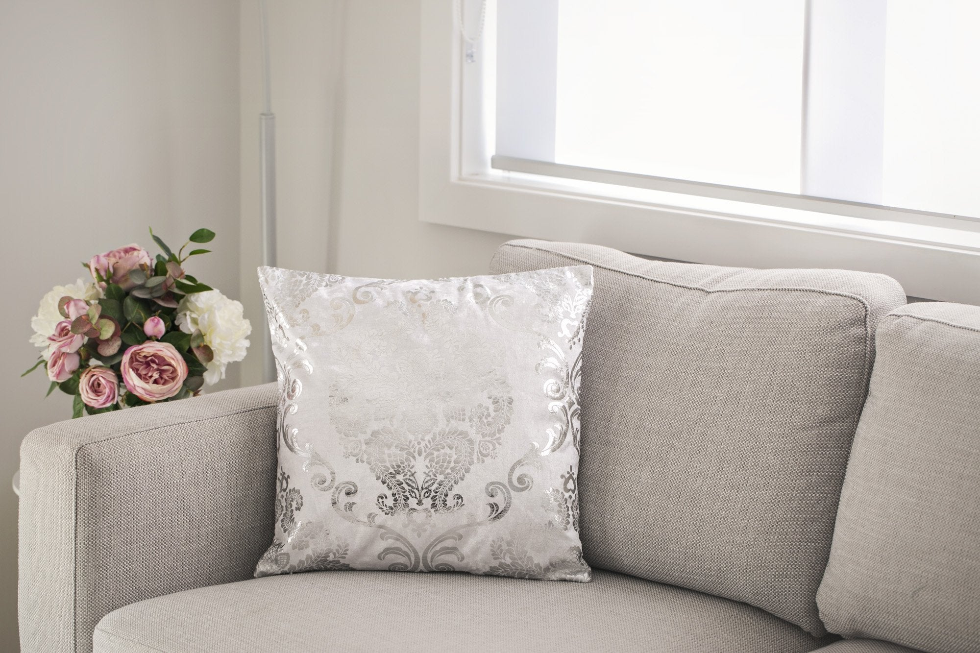 Silver Paisley Cushion - Violet and Eve