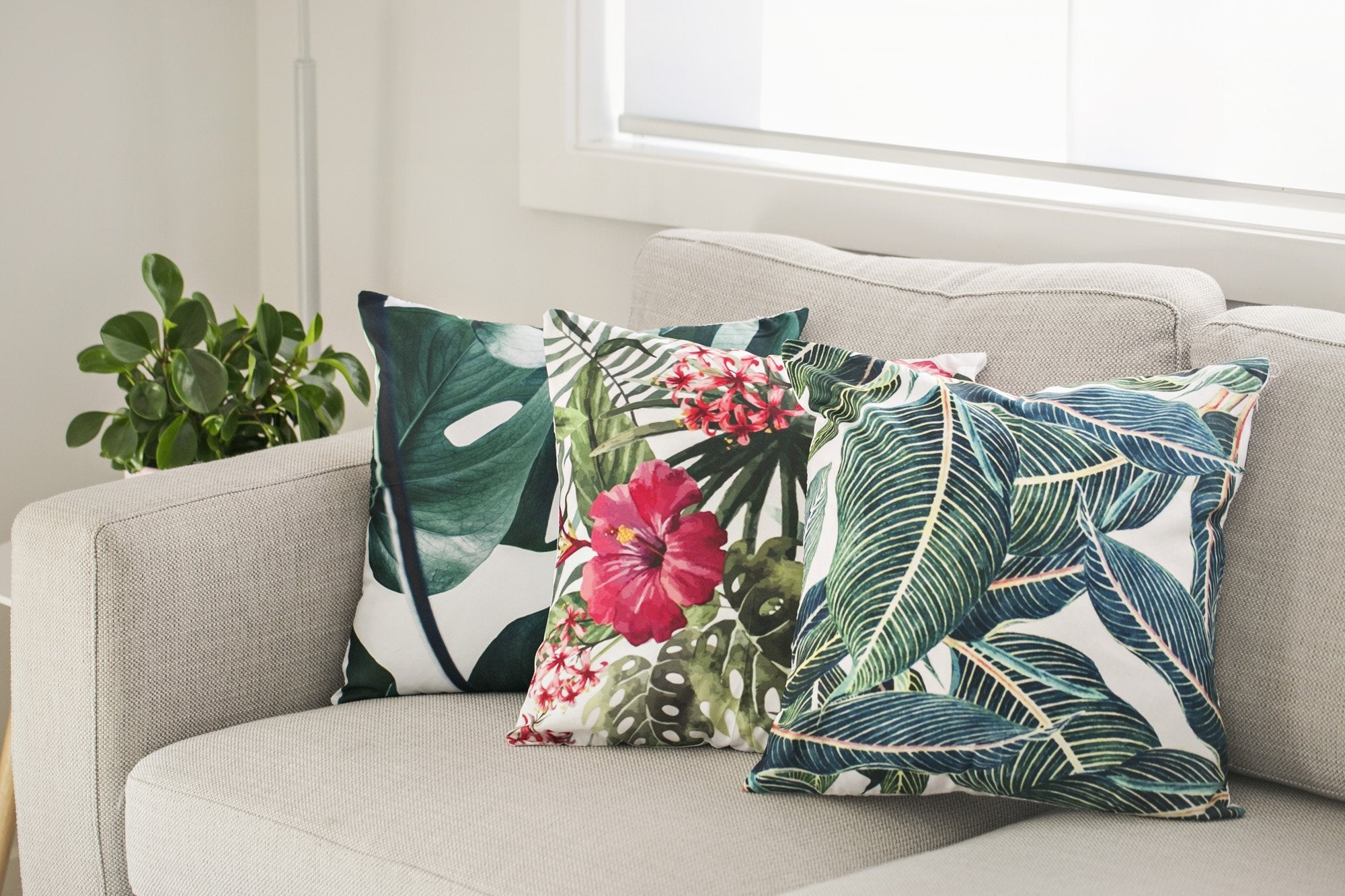 Tropical Design Casual Cushions - Violet and Eve