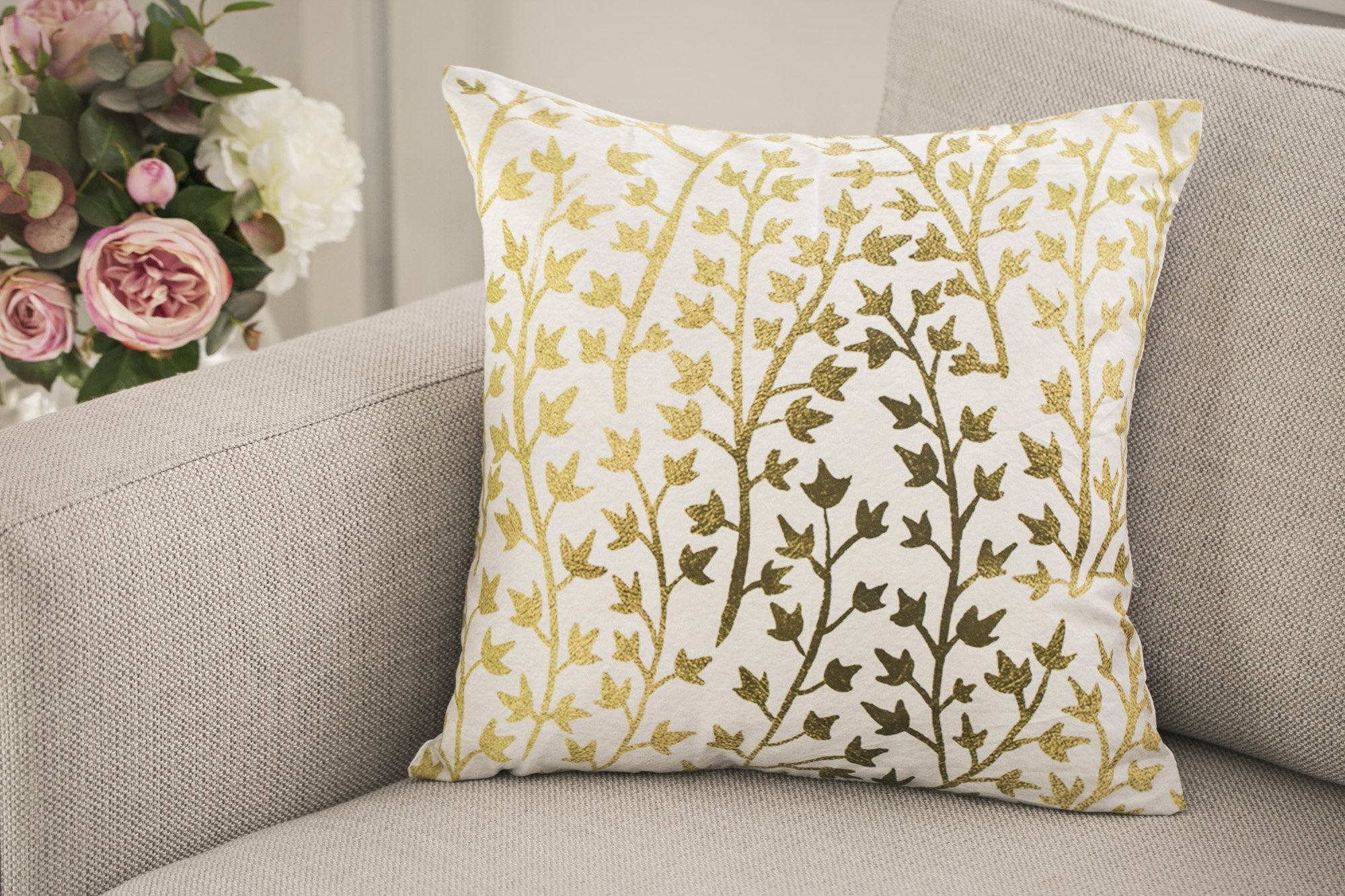 Tropical Gold Leaf Cushions - Violet and Eve