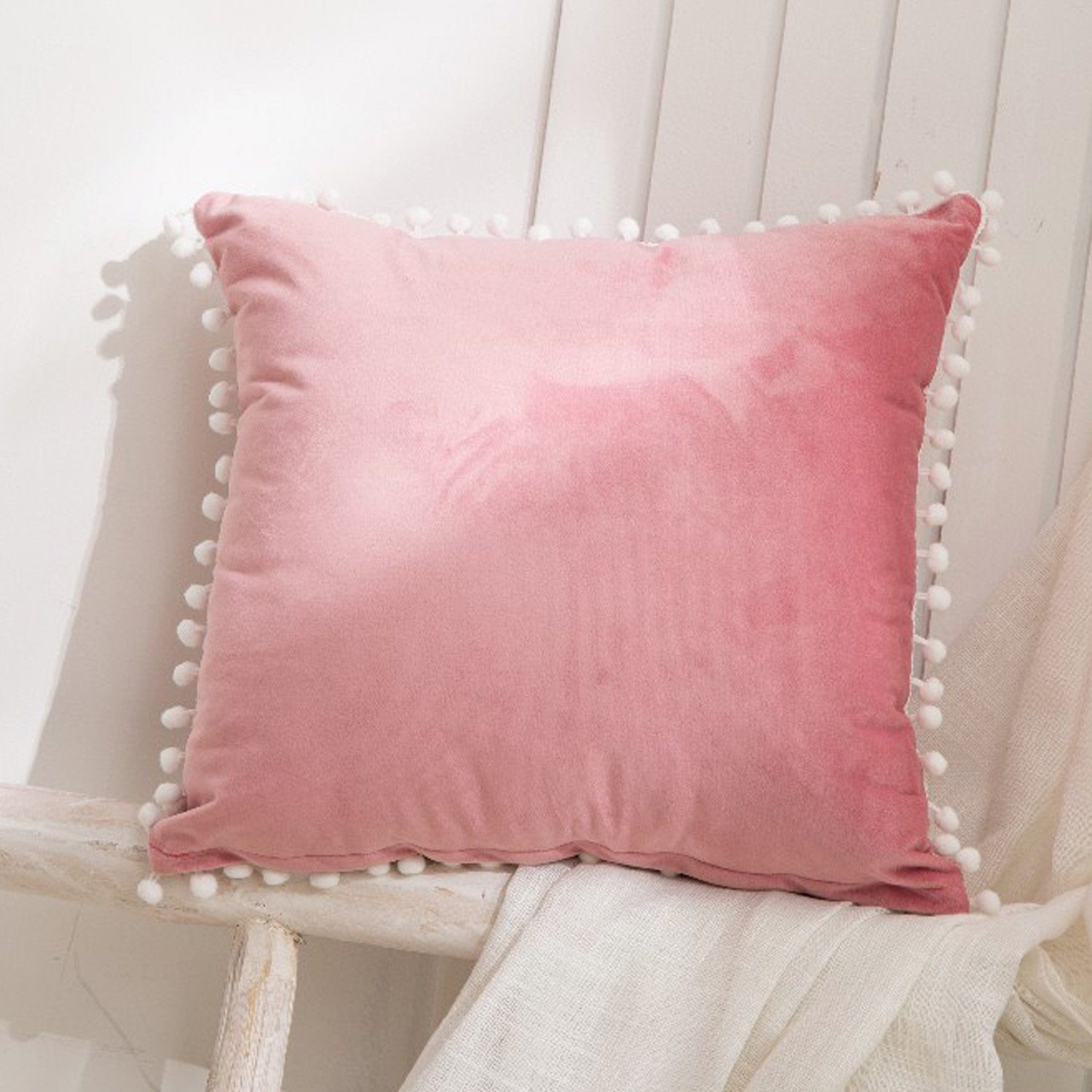 Velvet Pom Pom Cushions - Violet and Eve