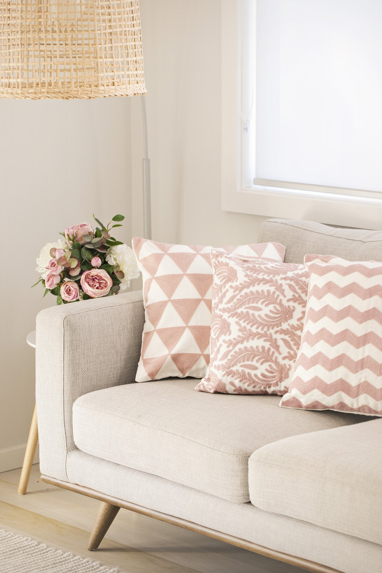 Warm Pink Embroidered Cushions - Violet and Eve