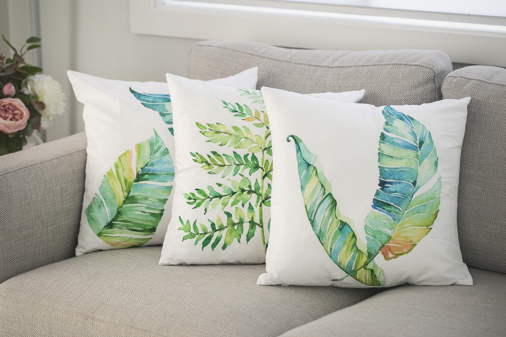 Watercolour Leaf Cushions - Violet and Eve
