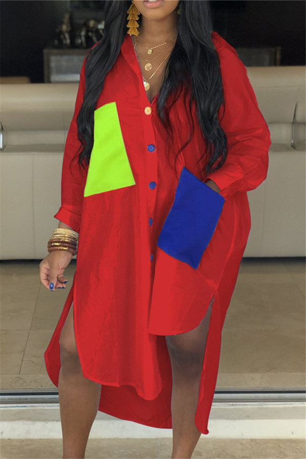 Plus Size S-3XL Colorblock Pocket Design Irregular Shirt Dress