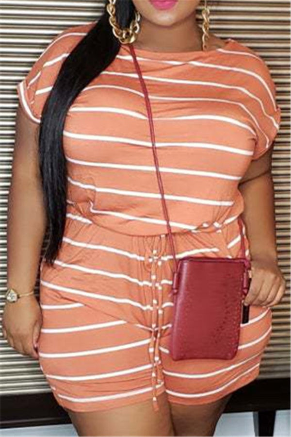 Plus Size XL-5XL Striped Drawstring Waist Casual Rompers