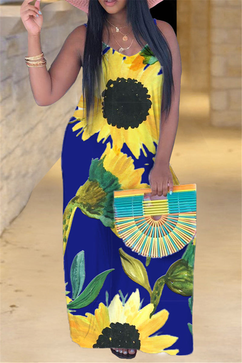 S - 5XL Sunflower Printed Maxi Dress