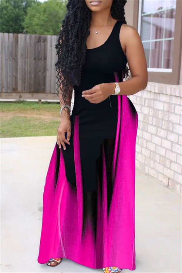 Color Splicing Cami Casual Maxi Dress