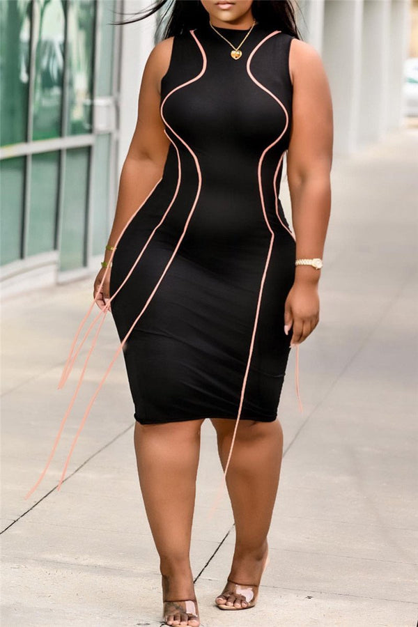 Plus Size S-3XL Tassel Sleeveless Bodycon Midi Dress