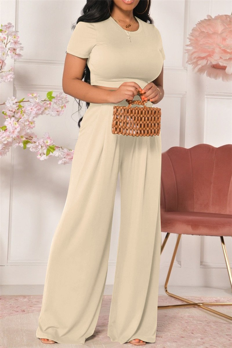 Solid Color Top with Wide Leg Ruched Pants Sets