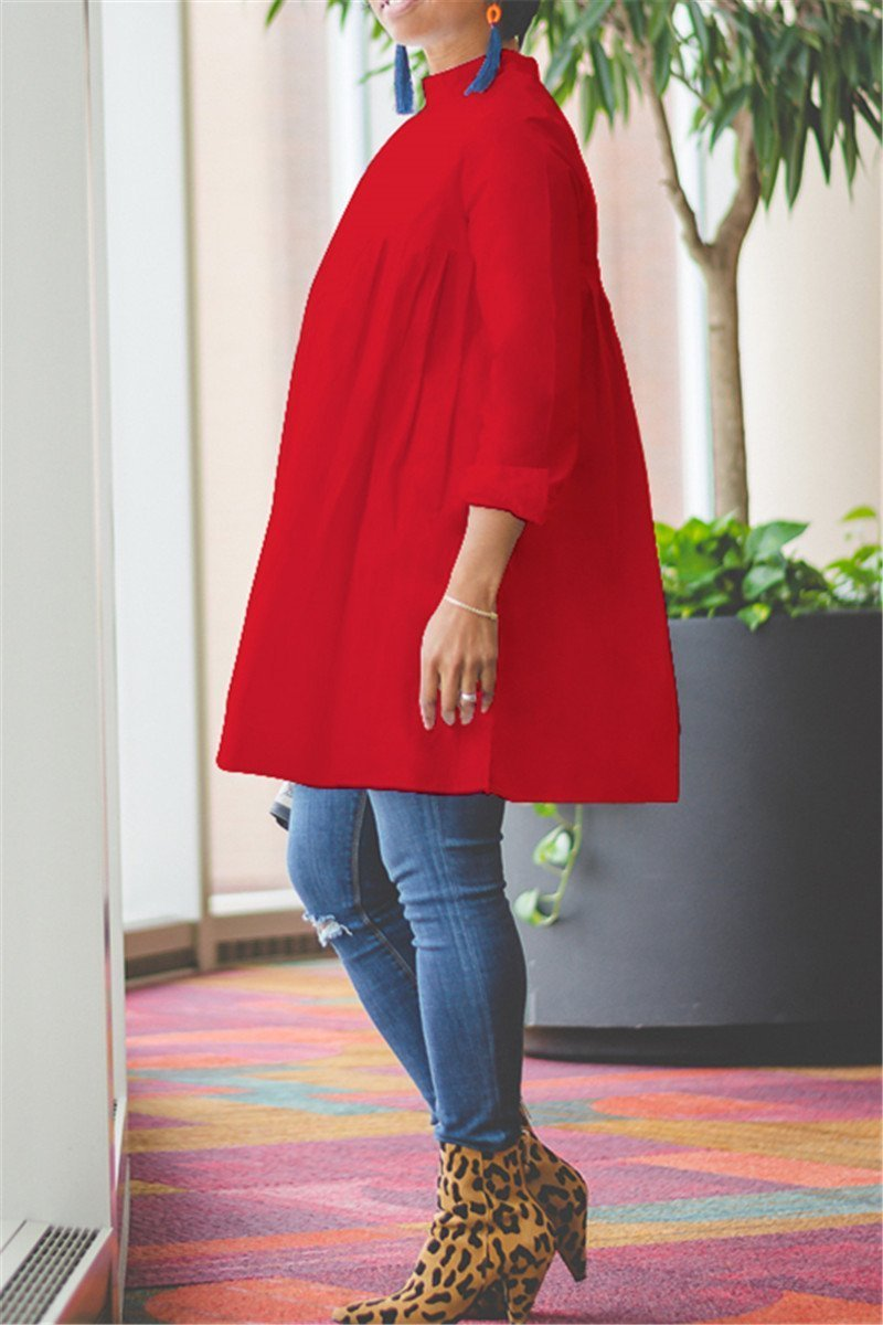 Solid Color Ruched Dress Top