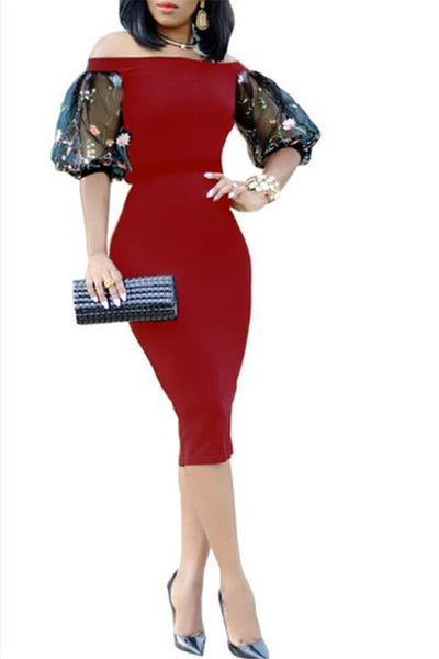 Net Yarn Sleeve Mide Dress