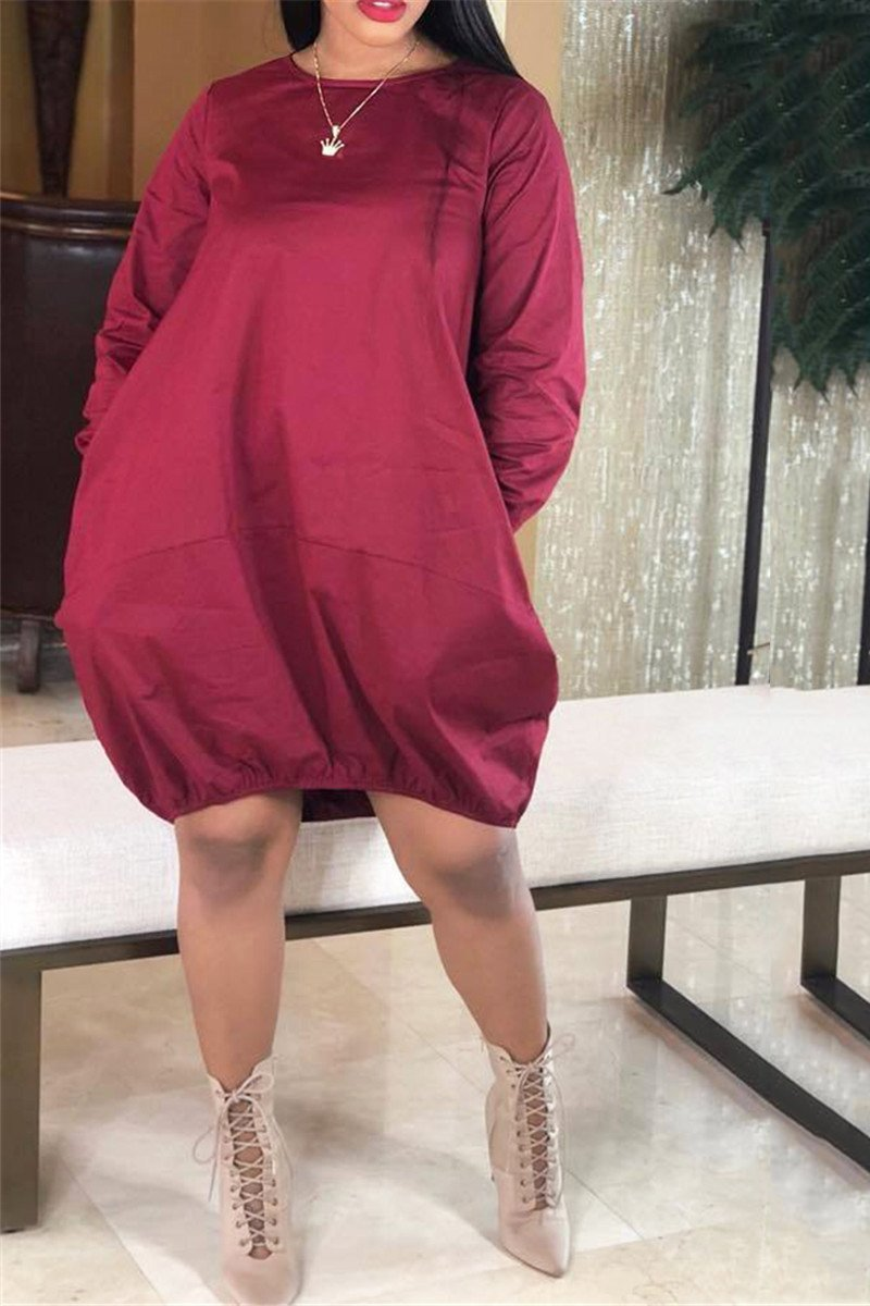 Plus Size Solid Color Dress With Pocket