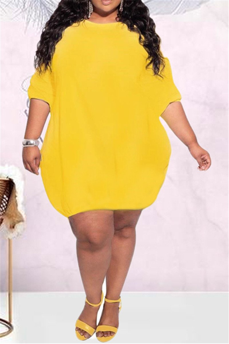 Plus Size S-5XL Puff Sleeve Casual Mini Dress