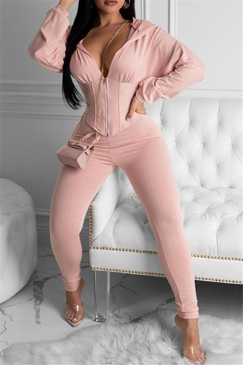 Solid Color Zipper Two PC Sets