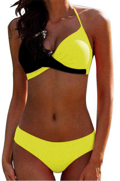 Color Splicing Halted Bikini Sets
