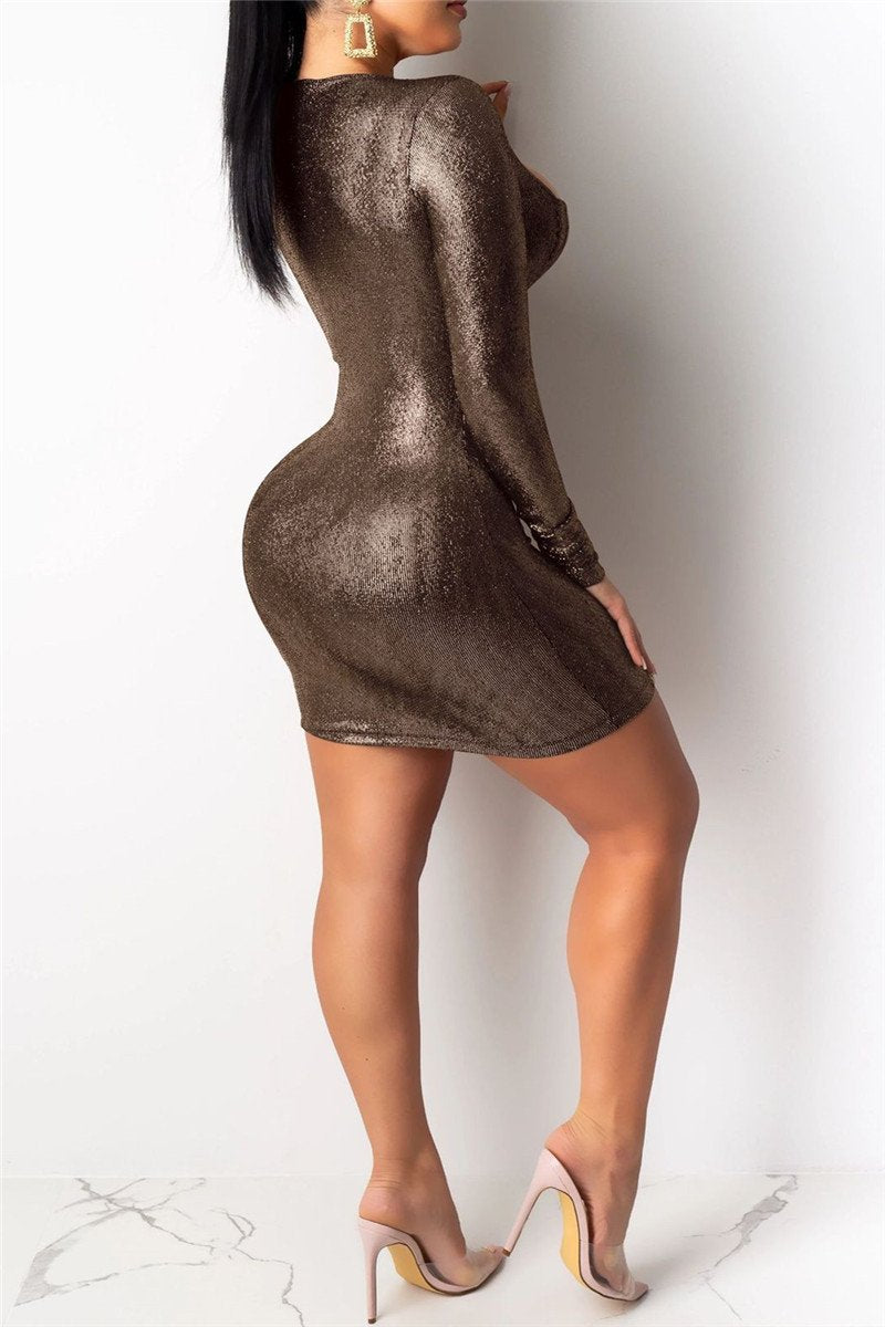 Hollow Out Bronzing Dress