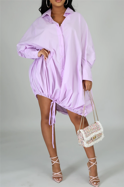 Solid Color Drawstring Shirt Dress