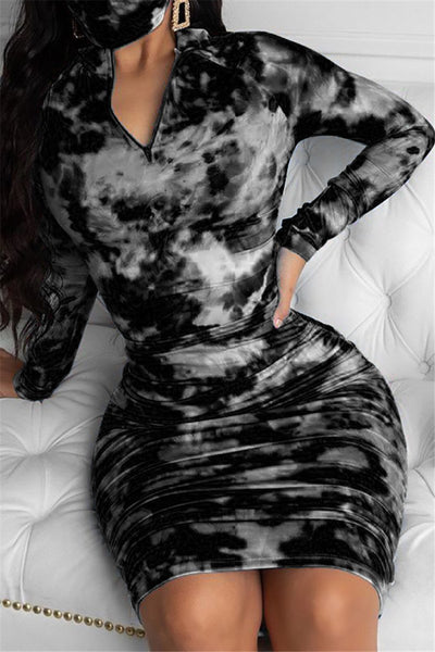 Color Changing Ruched Zipper Dress