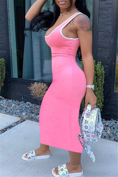 Solid Color Tank Maxi Dress