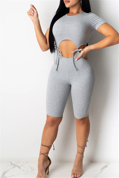 Solid Color Hollow Out Bandage Romper