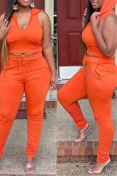 Solid Color Hooded Ruched Sets
