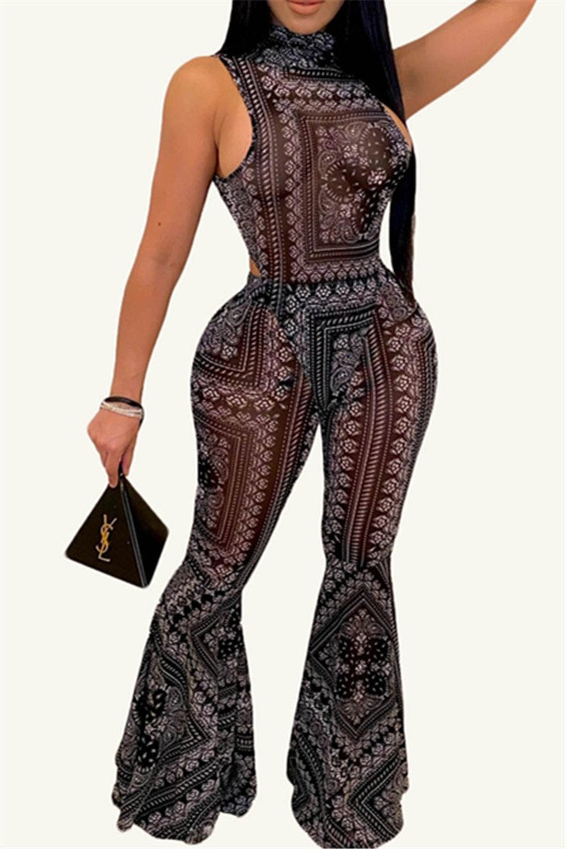Printed Romper& Flare Pants Sets