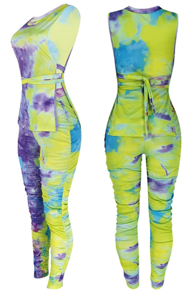 Tie Dye Bandage Ruched Sets