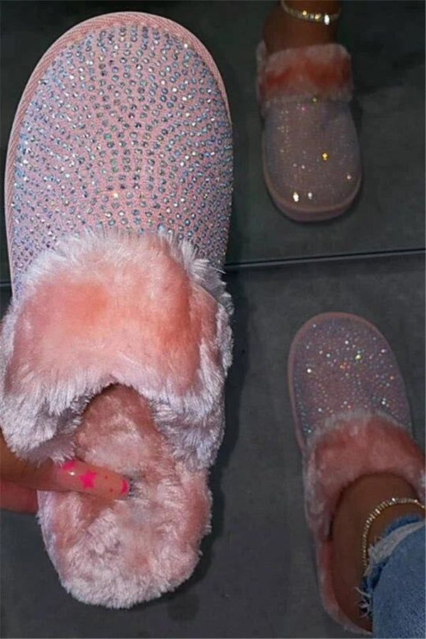 Shining Rhinestone Fur Slippers