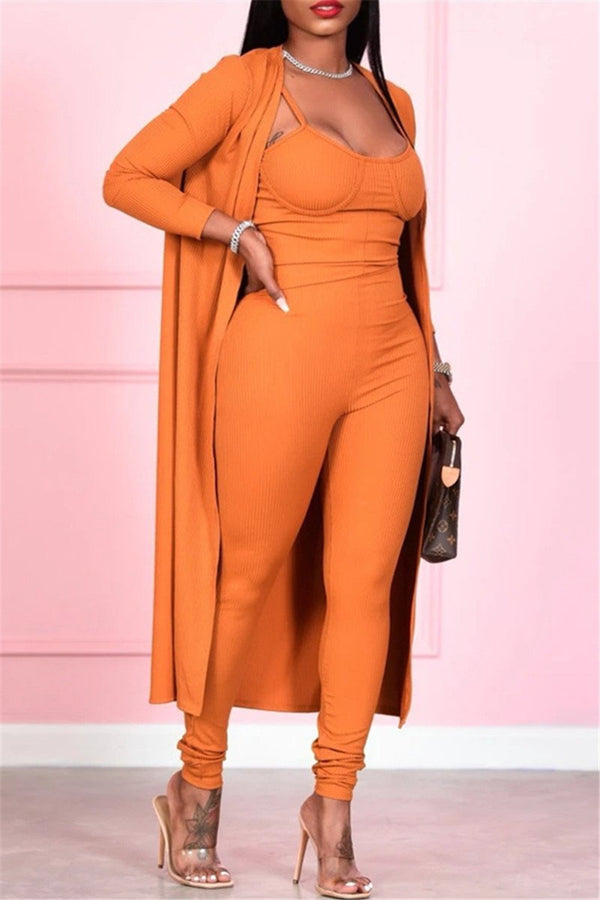 Solid Color Cami Jumpsuit& Cardigan Sets