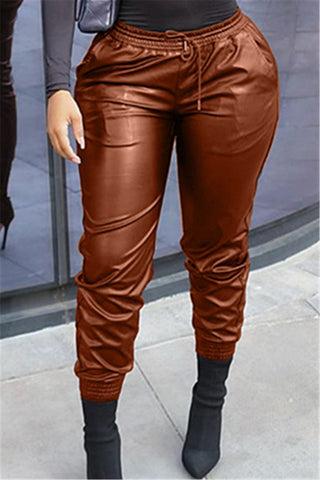 Solid Color PU Womens Pants