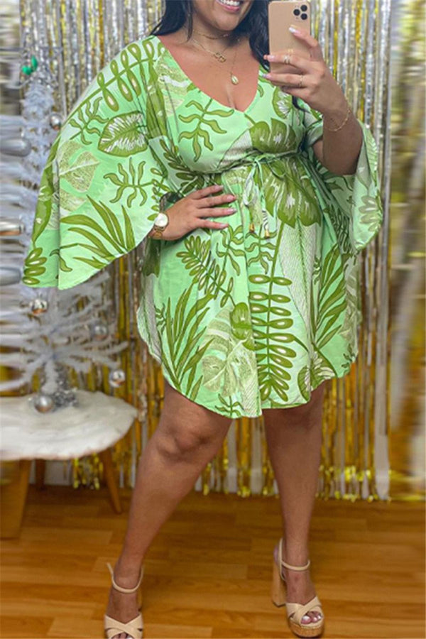 Plus Size L-5XL Printed Batwing Sleeve Casual Dress