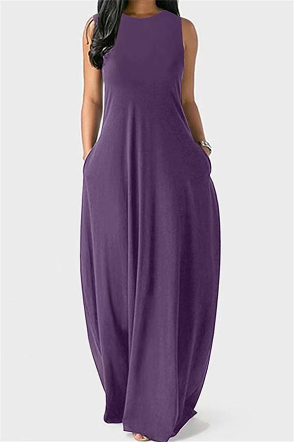 Solid Color Sleeveless Casual Maxi Dress