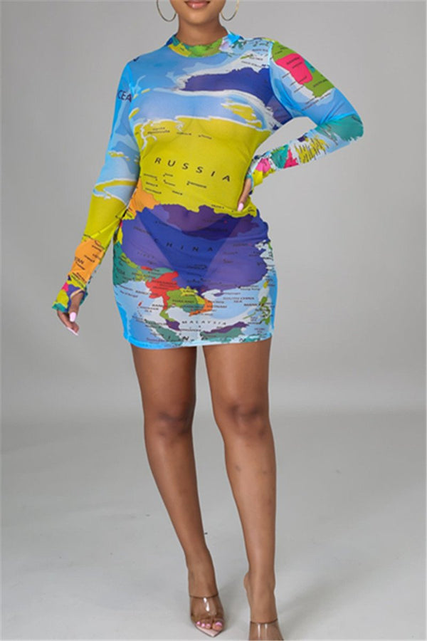 Net Yarn Long Sleeve World Map Printed Mini Dress