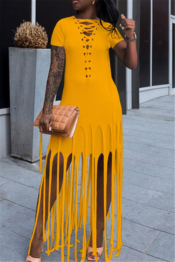 Solid Color Bandage Tassel Maxi Dress