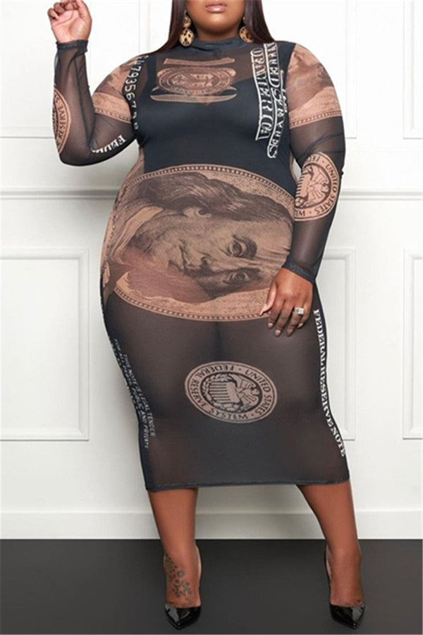 Plus Size Net Yarn Printed Midi Dress