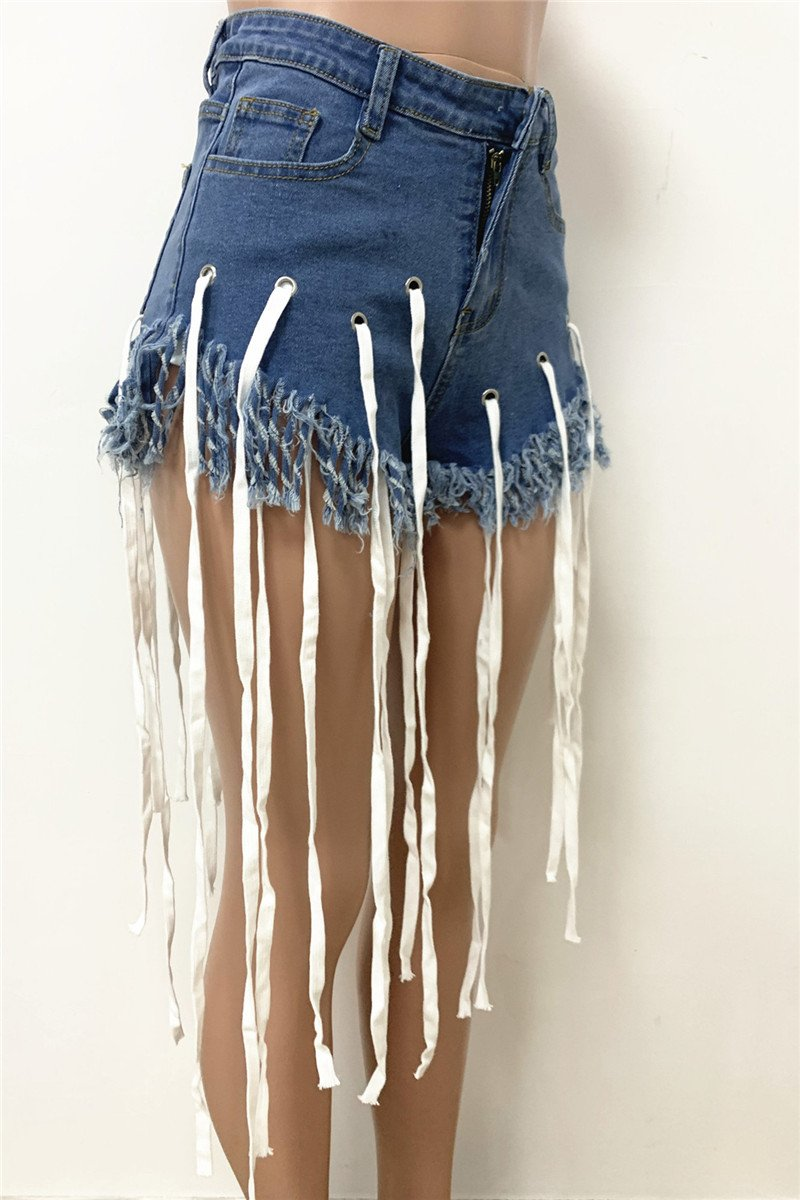 Tassel Splicing with String Denim Shorts