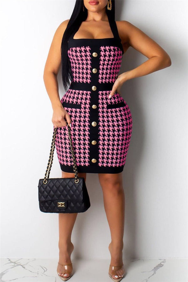 Houndstooth Printed Button Front Backless Halter Mini Dress
