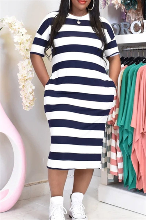 Plus Size S-3XL Striped Pocketed Maxi Dress