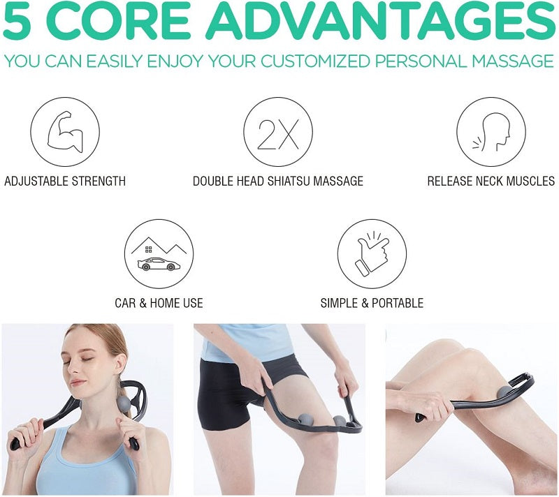 If you experience persistent neck pain or are plagued by muscle knots, owning a MasPro™ Neck And Shoulder Massager would be of great help. It's a portable massager that you can use in the comfort of your own home or even while on the go. It's the easiest way to treat neck pain and stiffness, and even shoulder tension and back pain!