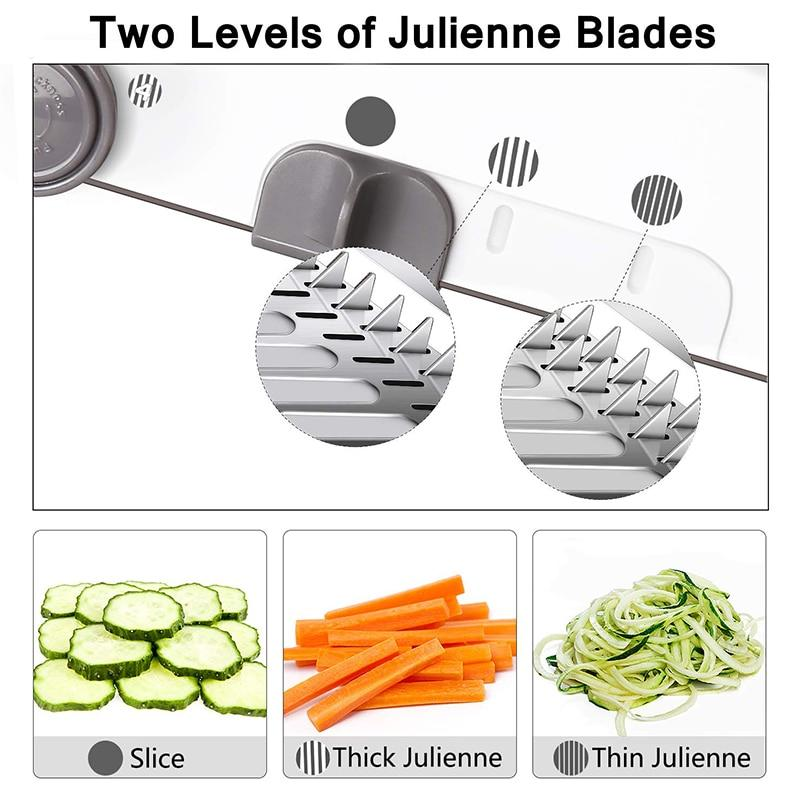This mandoline slicer includes four adjustable cutting widths that are controlled by a knob, providing a seamless change between the built-in blades, allows you to cut vegetables into different thicknesses easily!