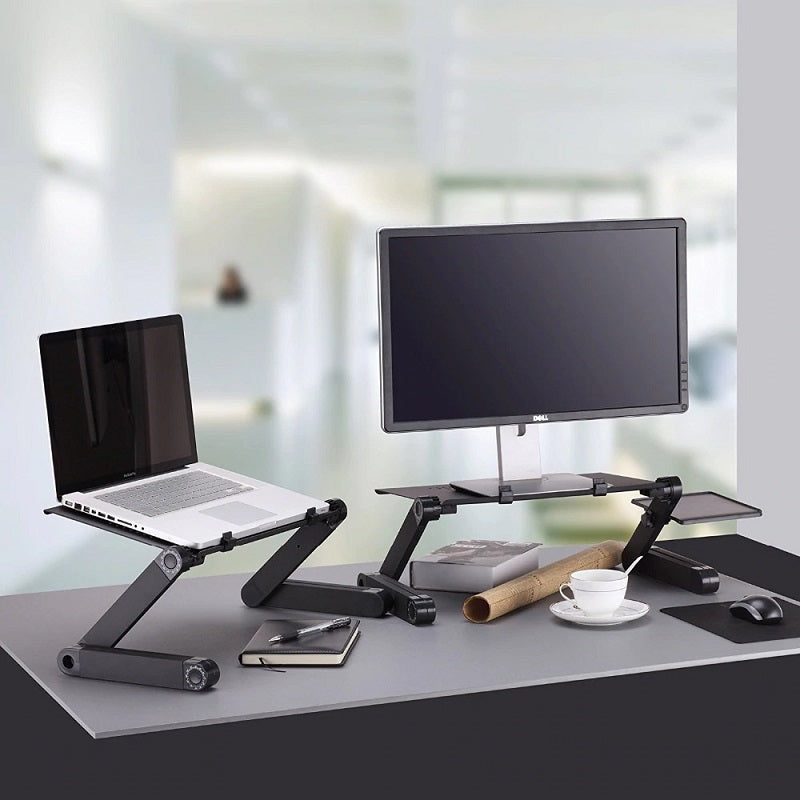 FlexDesk™ Adjustable Portable Laptop Stand For Desk And Bed is the all-in-one solution for computing while relaxing on the couch or lying in bed. It is fully adjustable to meet your desired height for all circumstances, and it can also improve your posture.