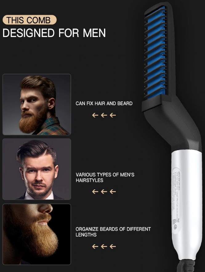 Combining the functionality of a hairbrush with the power of heat, the InsBeards™ Beard Straightener Comb restores your beard to the masculine, groomed perfection in just minutes.