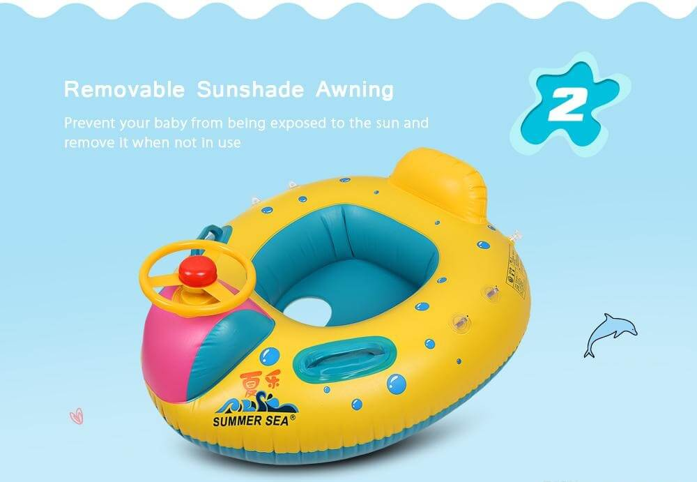 Our KidsFirst™ Baby Kids Swim Float With Sunshade Canopy can let your baby and kids learning the foundations of swimming while encouraging early learning and development from 6 months old.